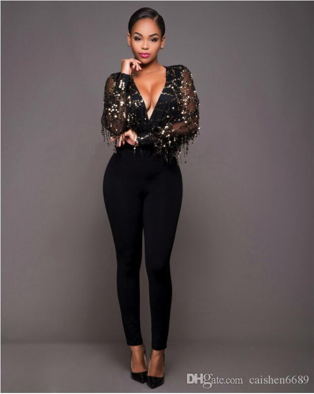 Fashion Deep V-neck Tassel Spangle Jumpsuit 2018 New Women Clothing Perspective Gauze Rompers Tights Black Sexy Club Party Jumpsuit