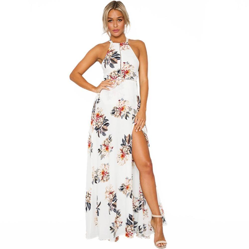 Großhandel 17 Damen Neckholder Chiffon Kleid Blumendruck Ärmellos Split  Backless Langes Kleid Elegant Aushöhlen Strand Maxi Boho Kleid Von Top17,
