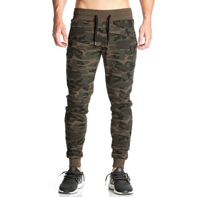 Pantalones de camuflaje de fitness para hombre Elasticidad Moda Jogger Lápiz Pantalones harén Pantalones de ejercicio de pies
