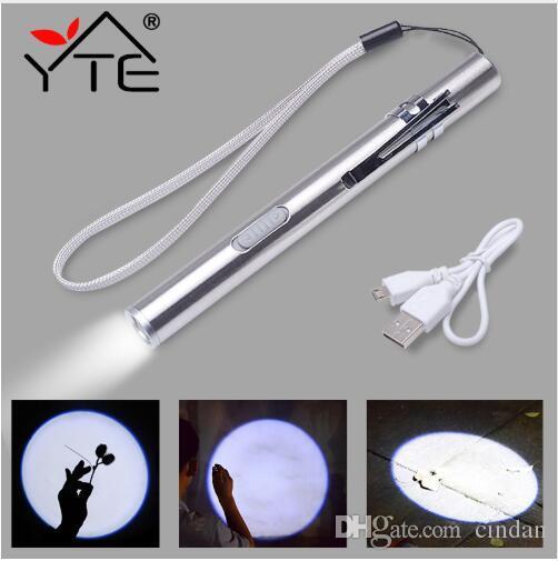 금속 클립으로 YTE의 USB 충전식 휴대용 주도 손전등 LED 손전등 높은 품질의 강력한 미니의 LED 토치 XML 디자인 펜 매달려