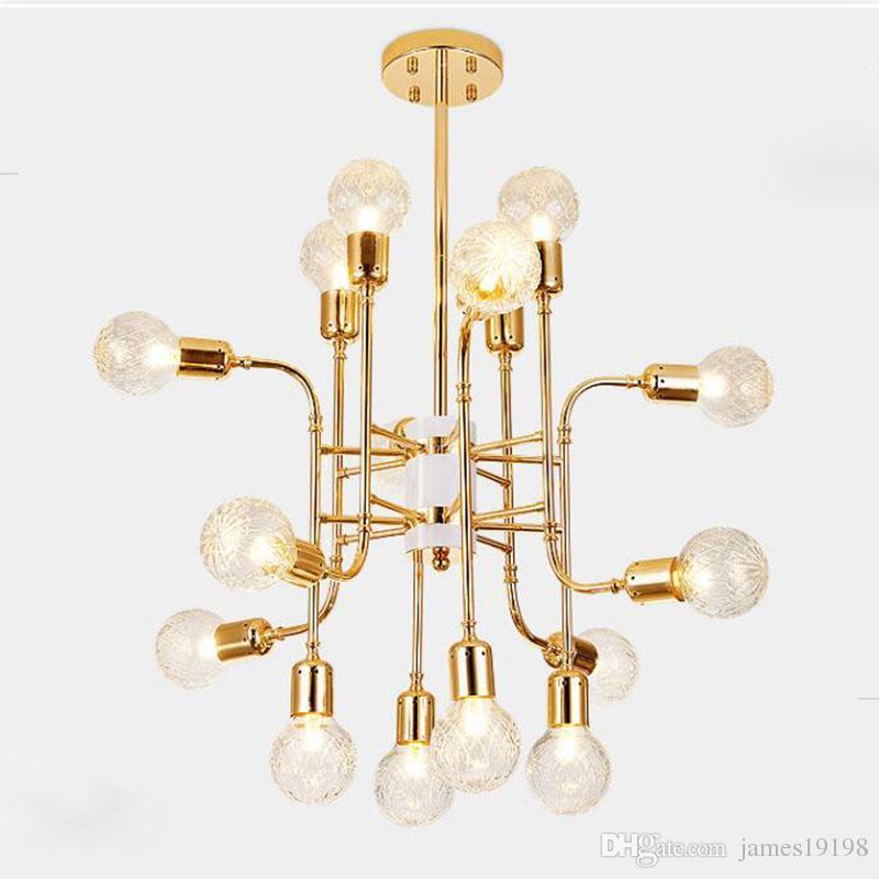 Lampadario postmoderno magica lampadario in vetro placcato palla led lampada Nordic ristorante luce lusso soggiorno camera da letto casa lighing G254