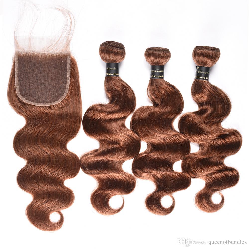 Honig-blonde malaysische peruanische Haar 3 Bündel mit Schließung 27 #, 30 #, 99J # peruanische Körper-Welle Menschenhaar-Bündel mit Spitze-Verschluss-freiem Teil