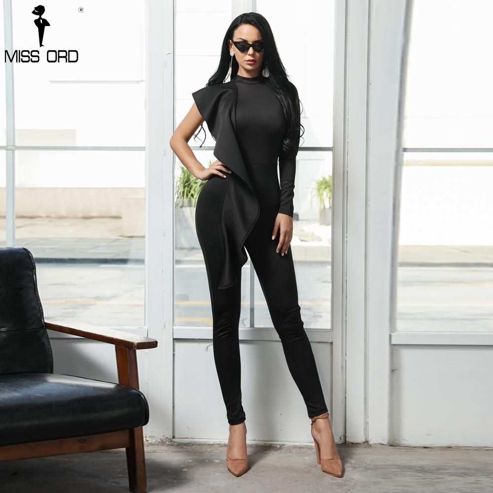 Missord 2018 Sexy High Neck One Shoulder Ruffle Rompers Solid Color Bodycon Elegant Jumpsuit FT9566