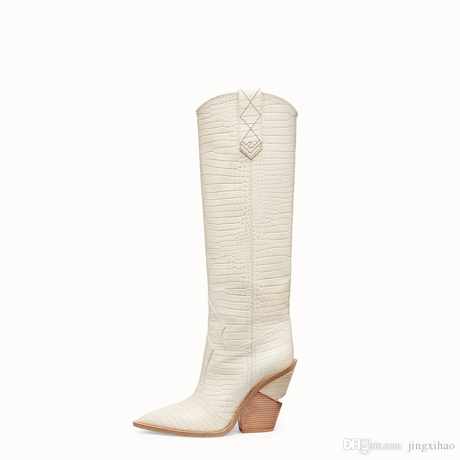 special shaped heels 2018 women's shoes ladies boots Knight Boots white knee high boots large size