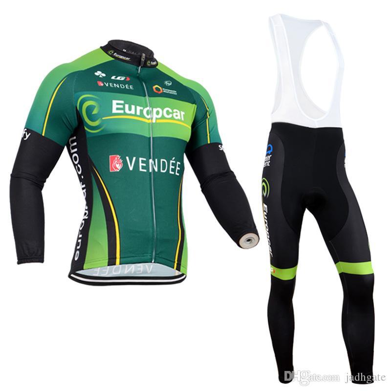 EUROPCRA team Велоспорт с длинными рукавами Джерси нагрудник брюки наборы высокое качество мужчины гонки Mtb велосипед одежда Майо Ciclismo U81302