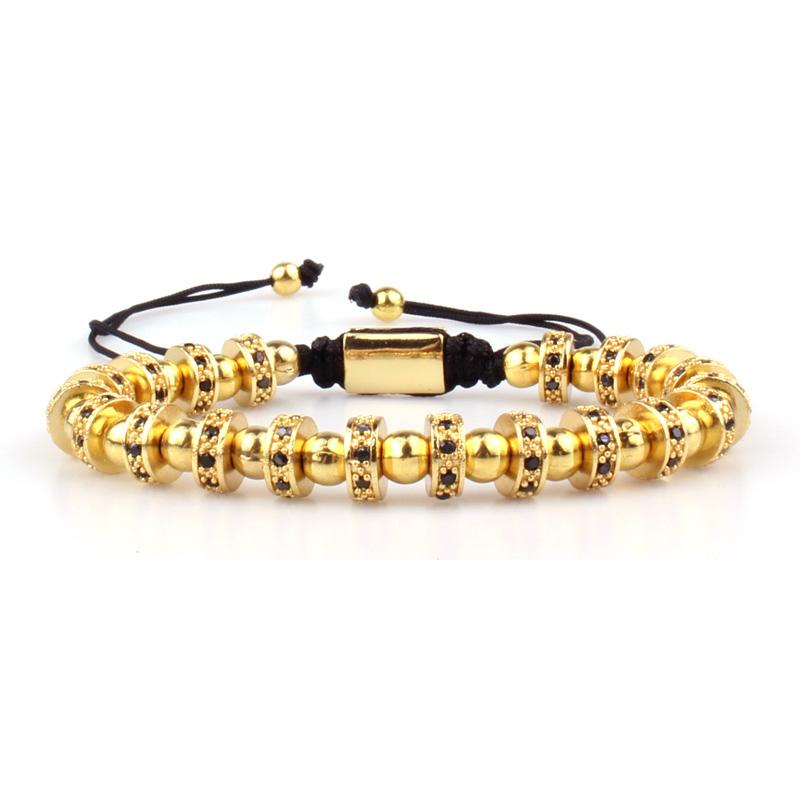 Праздничный подарок Gun Black Zircon Copper Bead Bracelet для мужчин