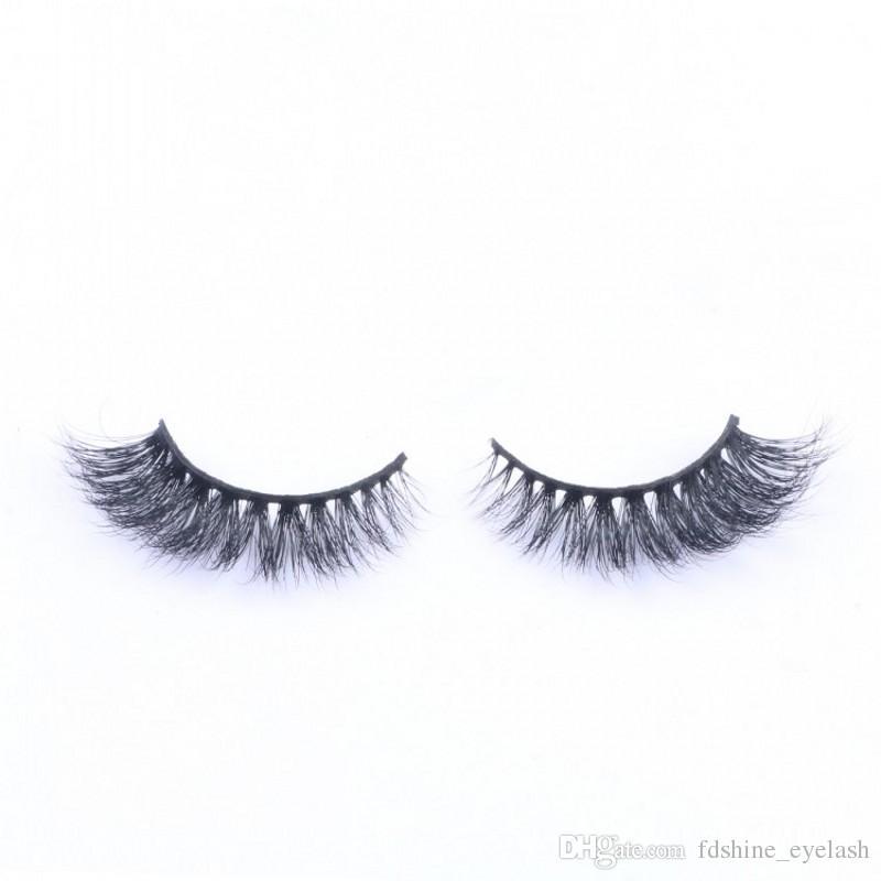 Sıcak Satış 3D Yanlış Eyelashes 100% El Yapımı Vizon Saç Lashes Doğal Uzun Kıvırmak Kalın Kirpik Uzantıları Siyah Renk Kirpikler