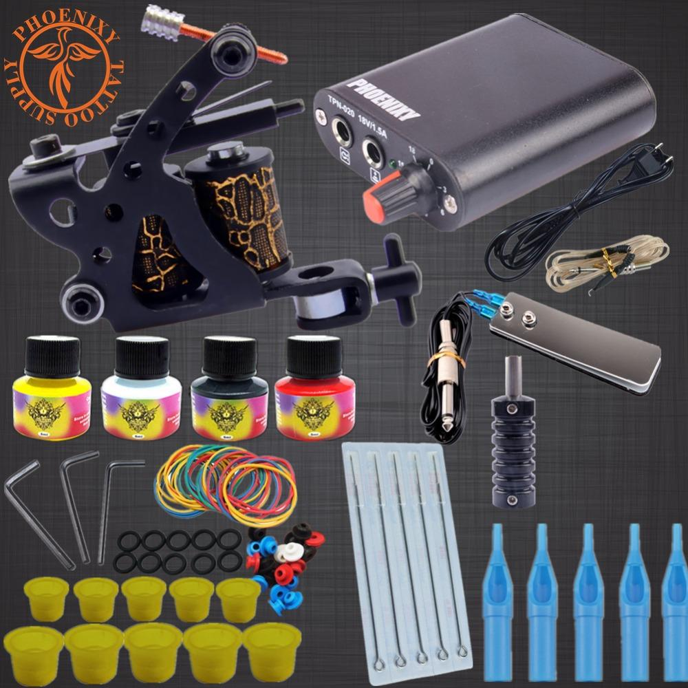 Professional Tattoo Kits Top Artist Complete Set 1 Tattoo Machine Gun Lining And Shading Inks Power Needles Supply