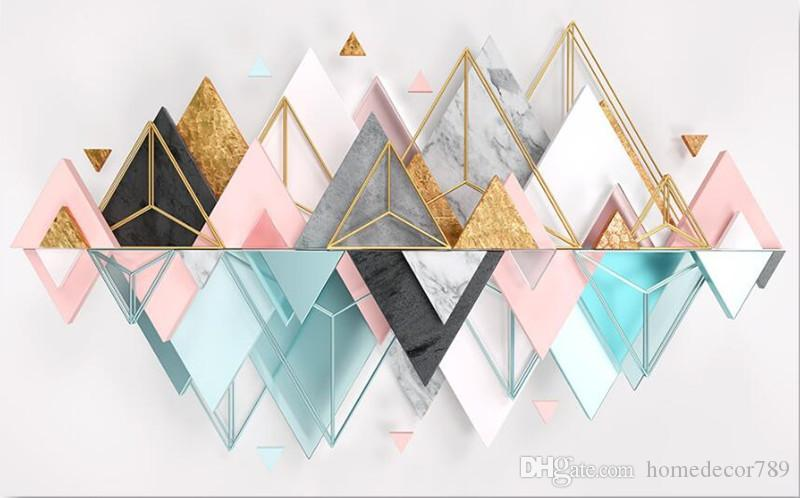 Modern Nordic Style Custom 3d Wallpaper Murals Metallic Glass Geometric Triangle Mural For Living Room Bedroom Sofa Tv Background Home Decor I Hd