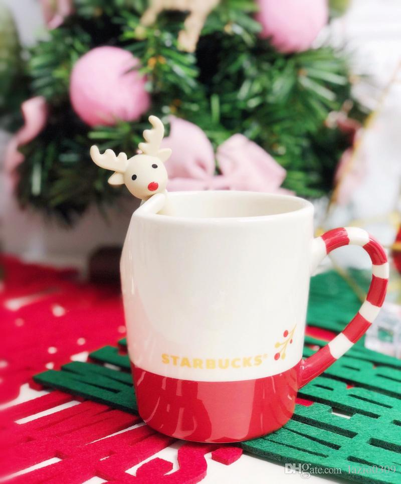 Christmas Coffee Mugs.Genuine 2018 Christmas Starbucks Candy Cane Elk Coffee Mug With Muddler 355ml Xmas Ceramic Cup With Spoon Milk Coffee Cup Gift Cheap White Coffee Mugs