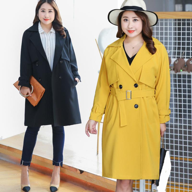 PL019 New Spring Autumn Trench Coat for Women Casual Women Trench Coat Plus Size Long Outerwear Loose Ladies Clothes with Belt