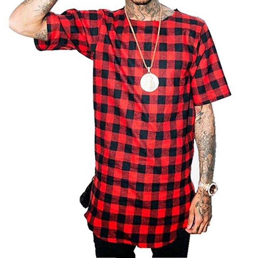 Hombres Plaid Longle Longline Casual Side Cremallera Tshirt Manga corta Hip Hop Hombres Streetwear Tee Shirt Swag Hem Echew Cuello Divertido Tops Tee