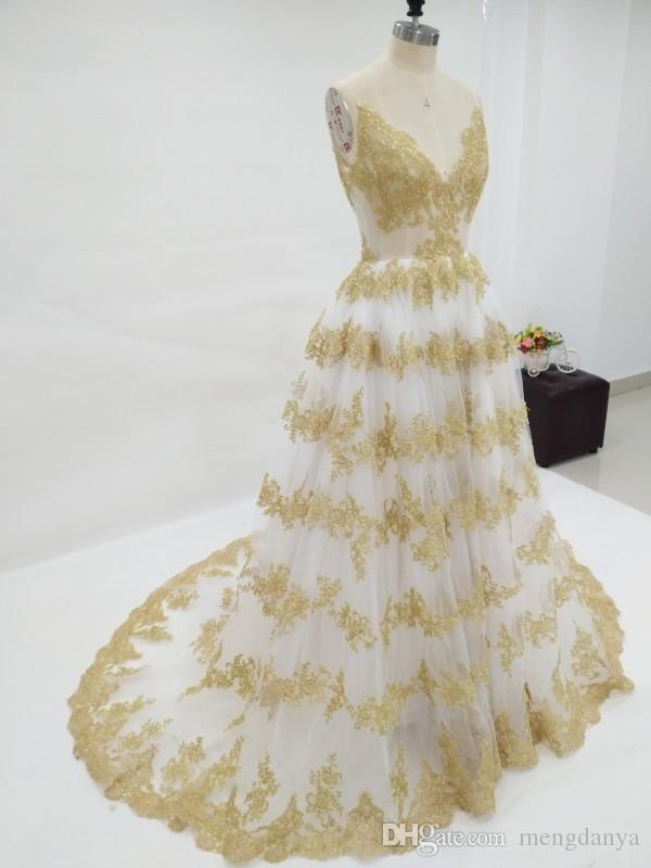 Discount Stunning Ivory And Gold Wedding Dresses A Line Spaghetti Straps Colorful Wedding Dress Sparkly Gold Lace Appliques Corset Back Bridal Gown A Line Dresses Wedding A Line Wedding Dresses Cheap From