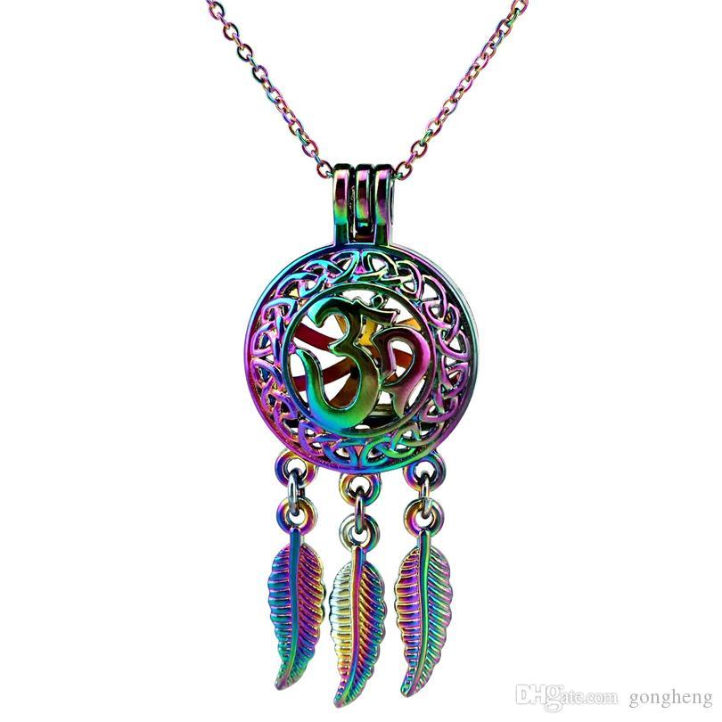 C704 Arcobaleno Acchiappasogni Yoga Foglia OM perline Ciondolo gabbia Olio essenziale diffusore Aromaterapia Ciondolo perla Collana pendente medaglione