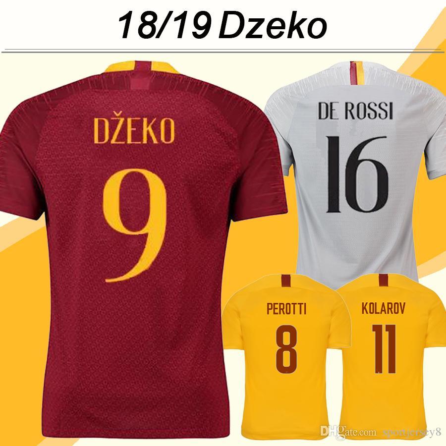 2018 19 DZEKO Soccer Shirts DE ROSSI PEROTTI Mens Home Away 3rd Football Jerseys Top Club KOLAROV EI SHAARAWY Short Sleeves Jersey Uniforms