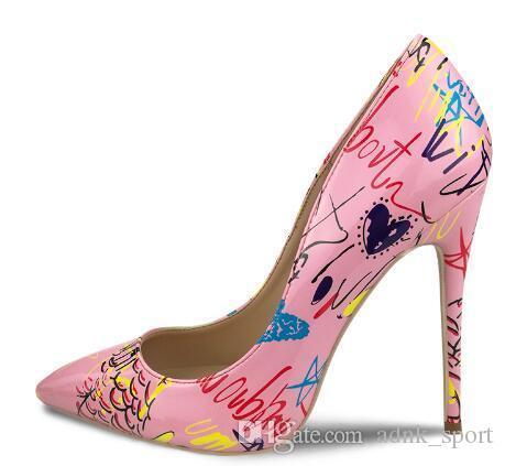 2018 Pink So Kate Styles 12cm Scarpe con tacco alto Scarpe con tacco a spillo in pelle color Nude con punta a punta per donna