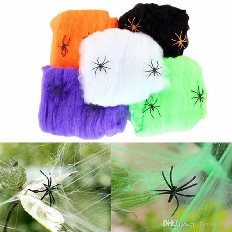 New Spider Web Cobweb Prop Reusable Artificial Gift Halloween Home Bar Costume Party Festival Haunted House Decor Spider Web