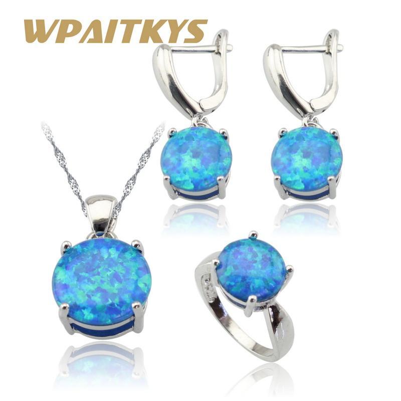 Runde Australien Feuer Blau Opal Silber Farbe Schmuck Sets Für Frauen Hochzeit Halskette Anhänger Ohrringe Ringe Geschenkbox