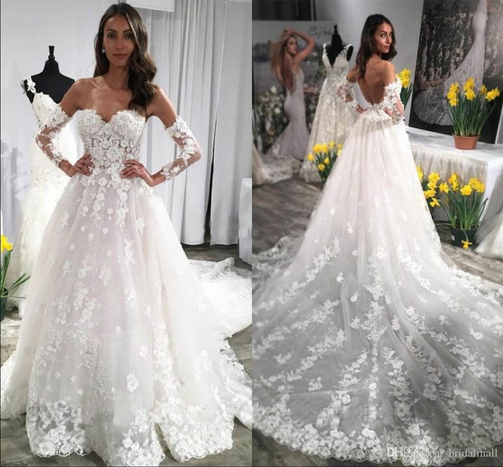 Discount Off Shoulder Appliques Lace Wedding Dresses With Long Sleeves Open Back Bridal Dresess Plus Size Court Train A Line Formal Wedding Gowns Fitted Wedding Dresses Mermaid Style Wedding Dresses From Bridalmall
