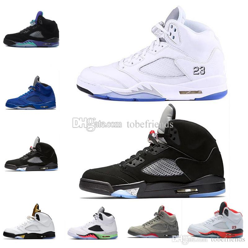 5 men basketball shoes free shipping Olympic Metallic Gold White Cement OG Black Grape red blue Suede Fire Red Oreo 5S V Sneakers US8-13