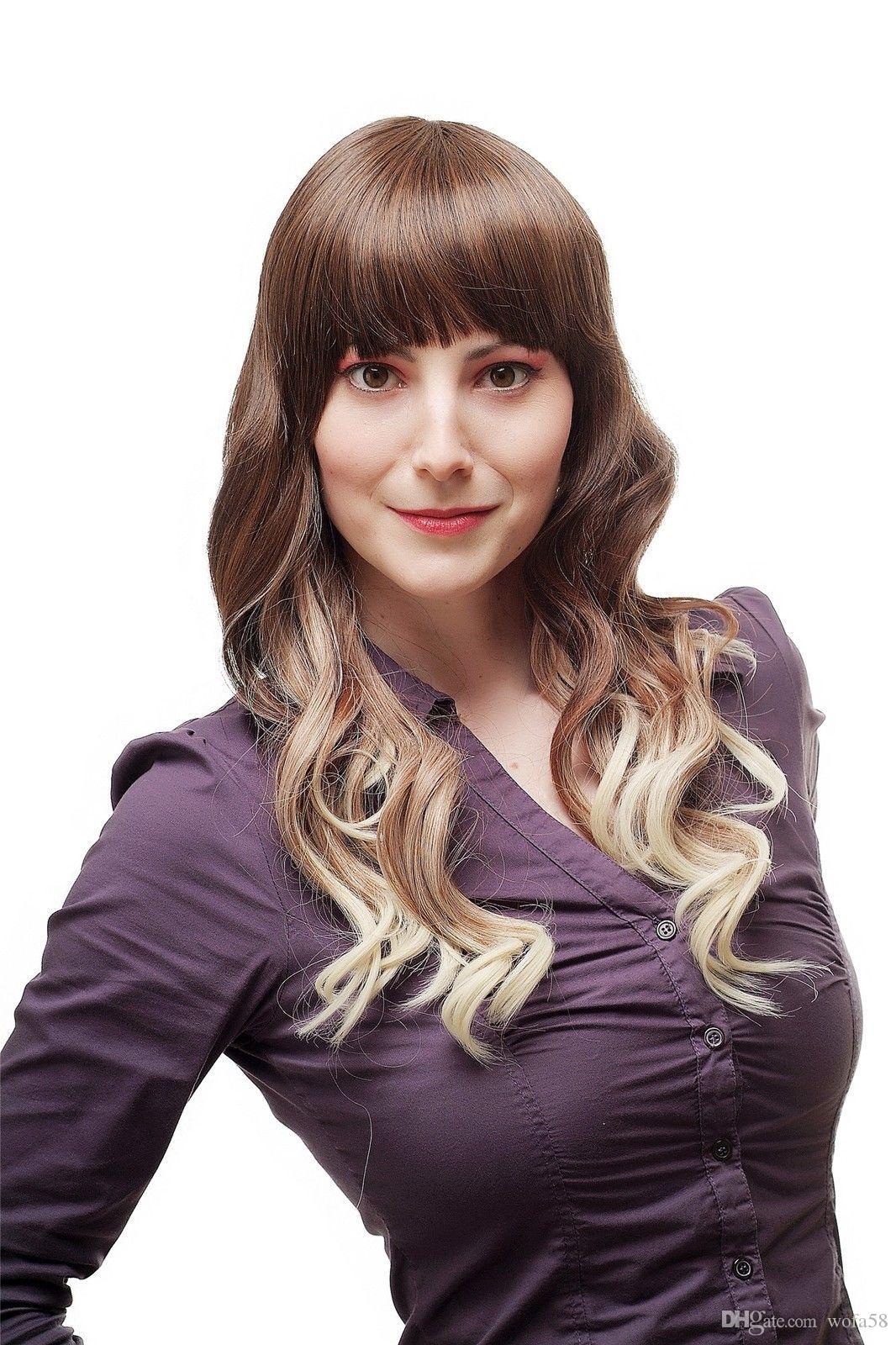 المرأة مثير لمة شعر مستعار أومبير الشعر أربعة لون بني فاتح شقراء متموجة SA060