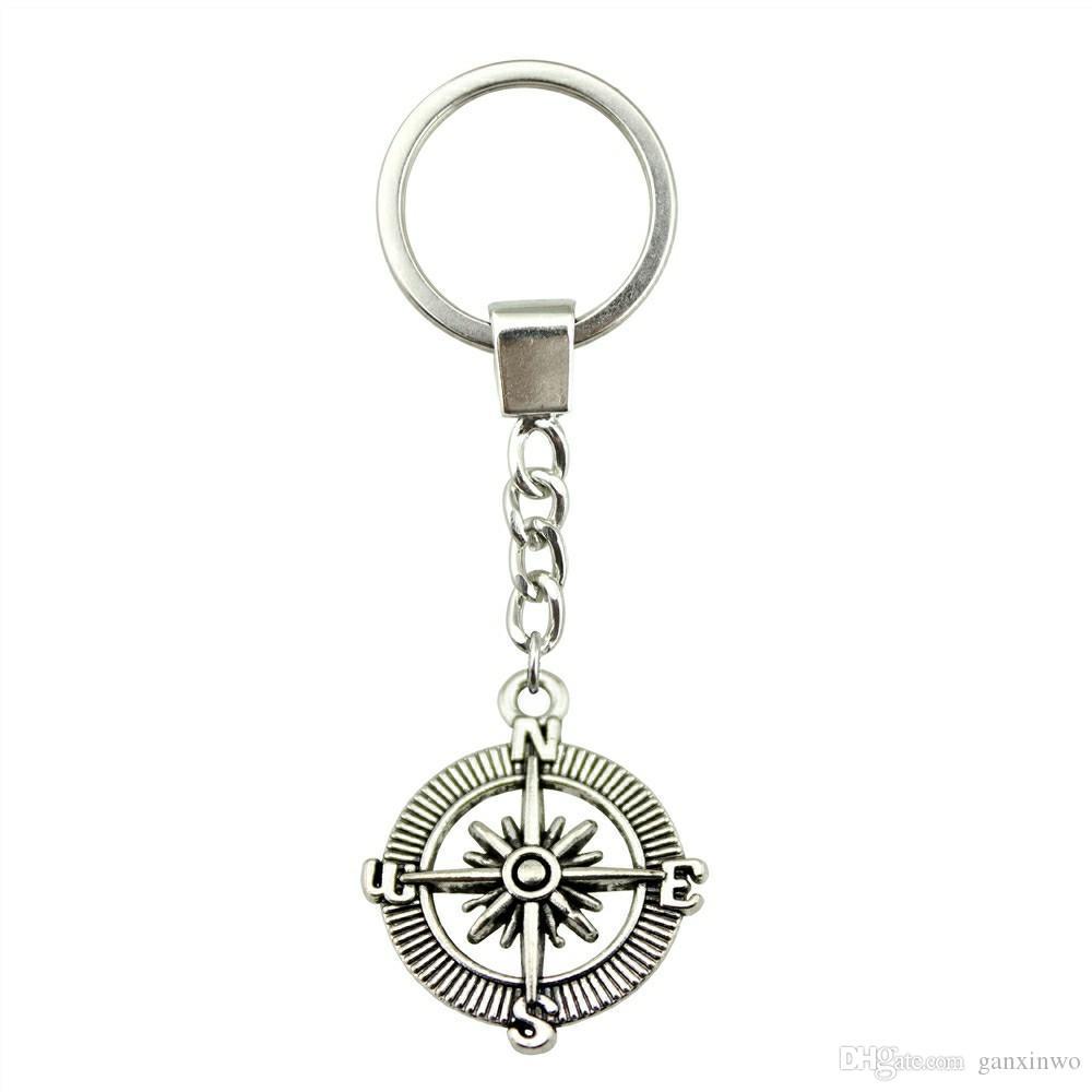 6 Pieces Key Chain Женщины Кольца для ключей Пара брелок для ключей компас 24мм YSK-B12710