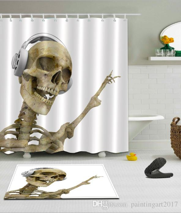 Music Skull pattern 3D Print Custom Waterproof Bathroom Modern Shower Curtain Polyester Fabric Bathroom Curtain Door mat sets