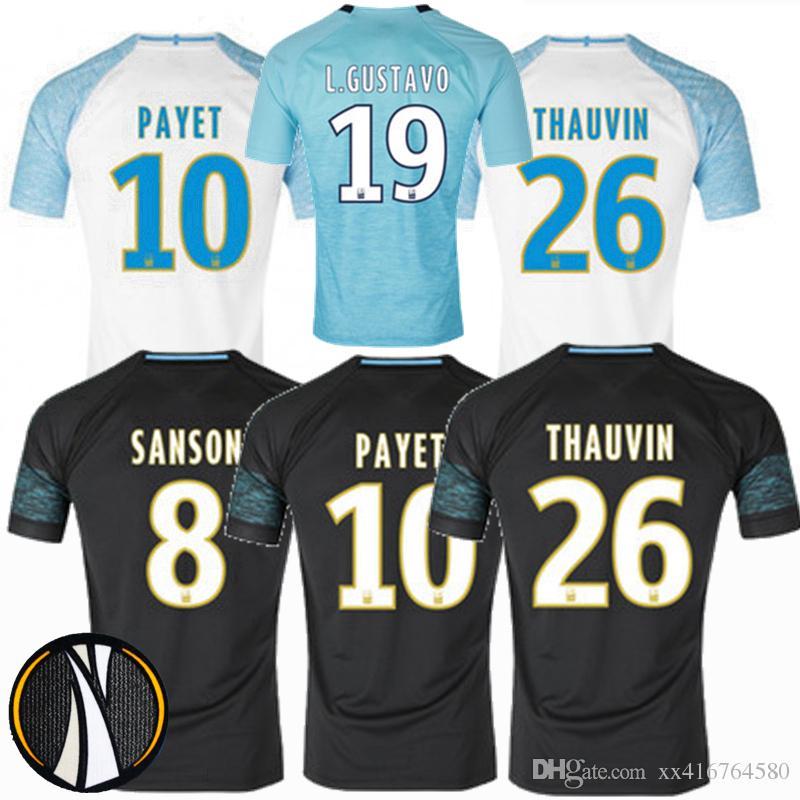 NEU! 2018 2019 marseille Soccer Jersey 18 19 THAUVIN L. GUSTAVO PAYET Hause Olympique De Marseille zuhause 3. Fußball Trikots