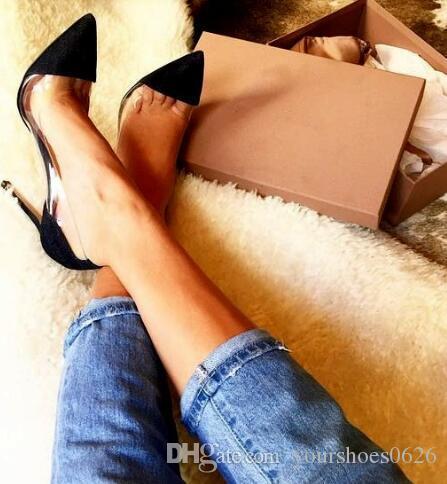 Kadınlar Şeffaf PVC Sivri Burun Pompaları Güzel Patchwork Patent Deri Ayakkabı 10 CM Yüksek Topuk Elbise Stilettos Kadın Ayakkabı