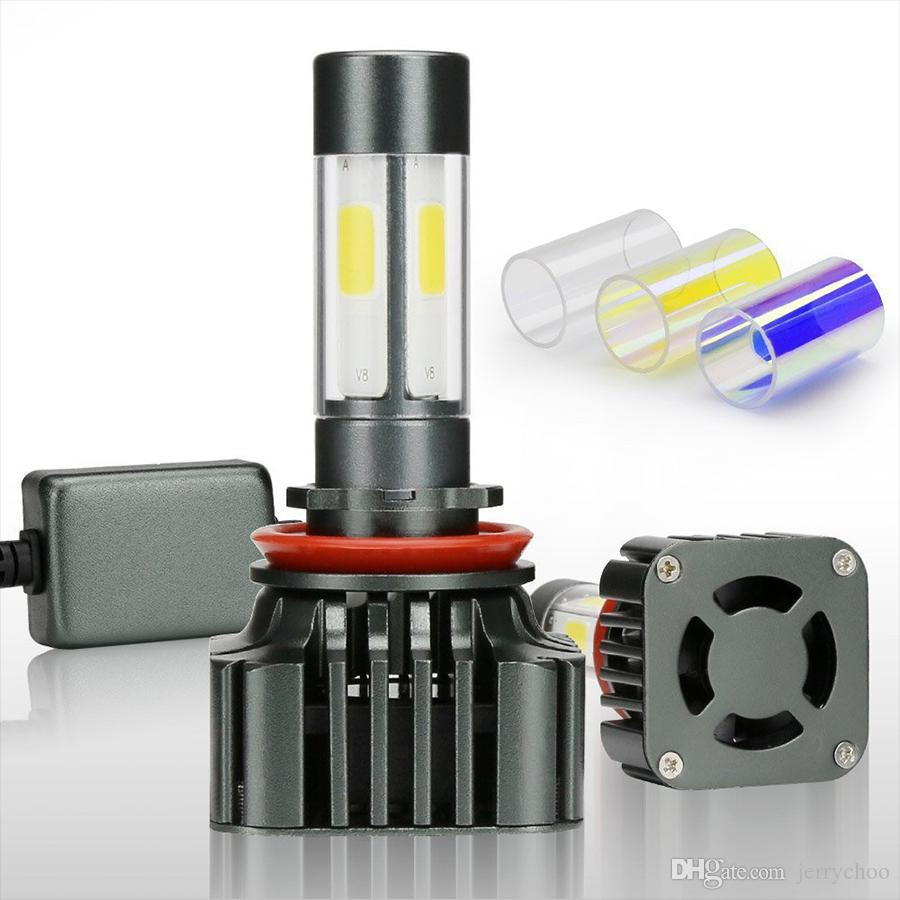 Wholesale 40 Pairs Super Bright H1 H4 Led Bulb 100W 12000LM Car Led Fog Headlights H7 H8 H9 H11 9005 Canbus 3 Colors