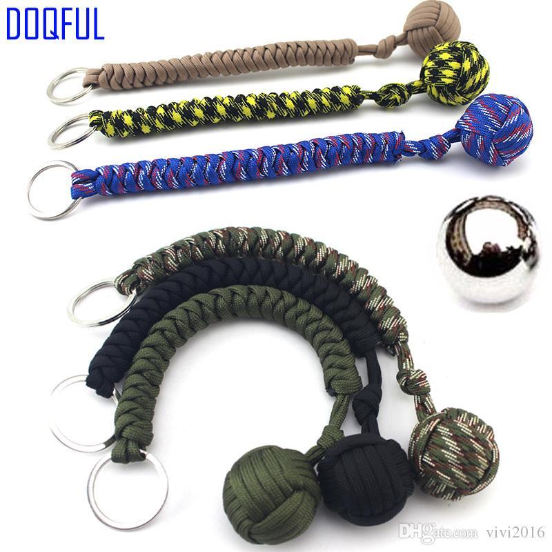 3pcs / lot EDC à billes en acier Paracord Porte-clés Parachute Porte-clés anneau extérieur Autodéfense Umbrella Corde d'escalade Camping survie main Knitte