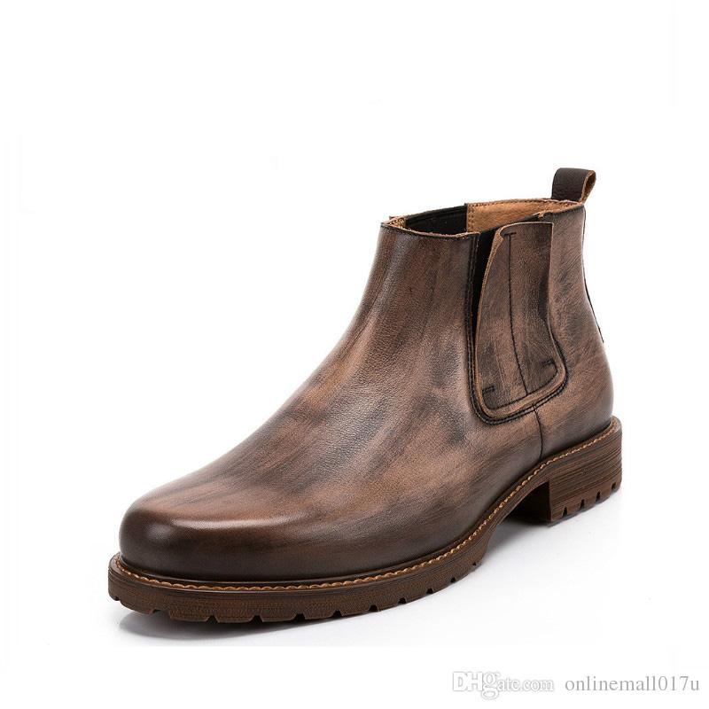 Nuevo estilo retro de cuero genuino hombres botines 100% hechos a mano Bota costura botas de invierno tácticas