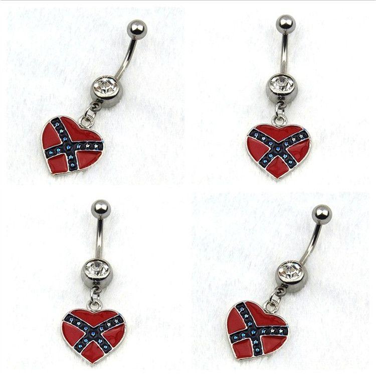 Novo Prevenir alergias body piercing umbigo piercing bandeira nacional em forma de coração umbigo pingente de anéis unha T3C0108