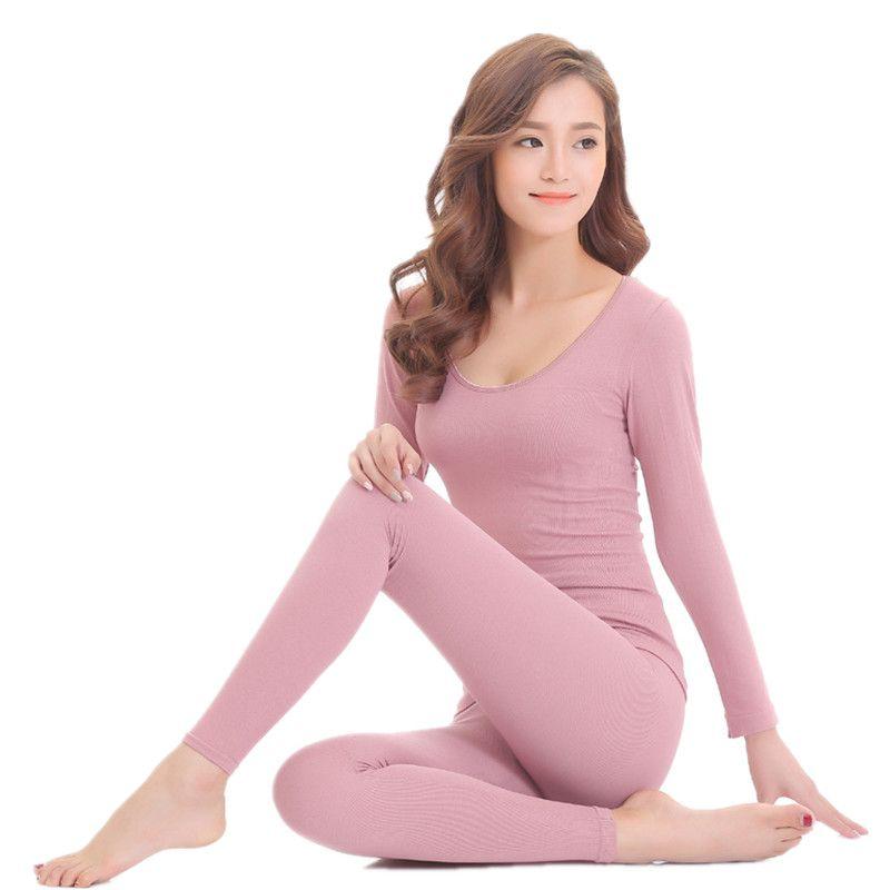Ropa interior térmica de invierno para mujer traje de cuerpo sólido Long Johns mujeres segunda piel térmica femenina cálida de las mujeres Sexy pijama