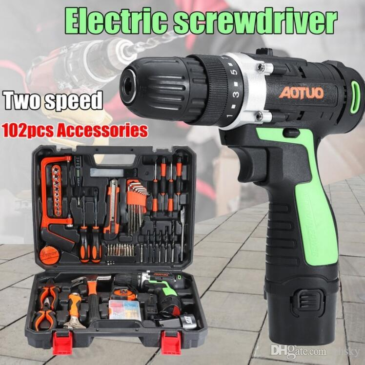 High Quality AOTUO 102Pcs 12V Li-Ion Cordless Power Drills Kit Electric Screwdriver Single/Double Speed 2 Battery