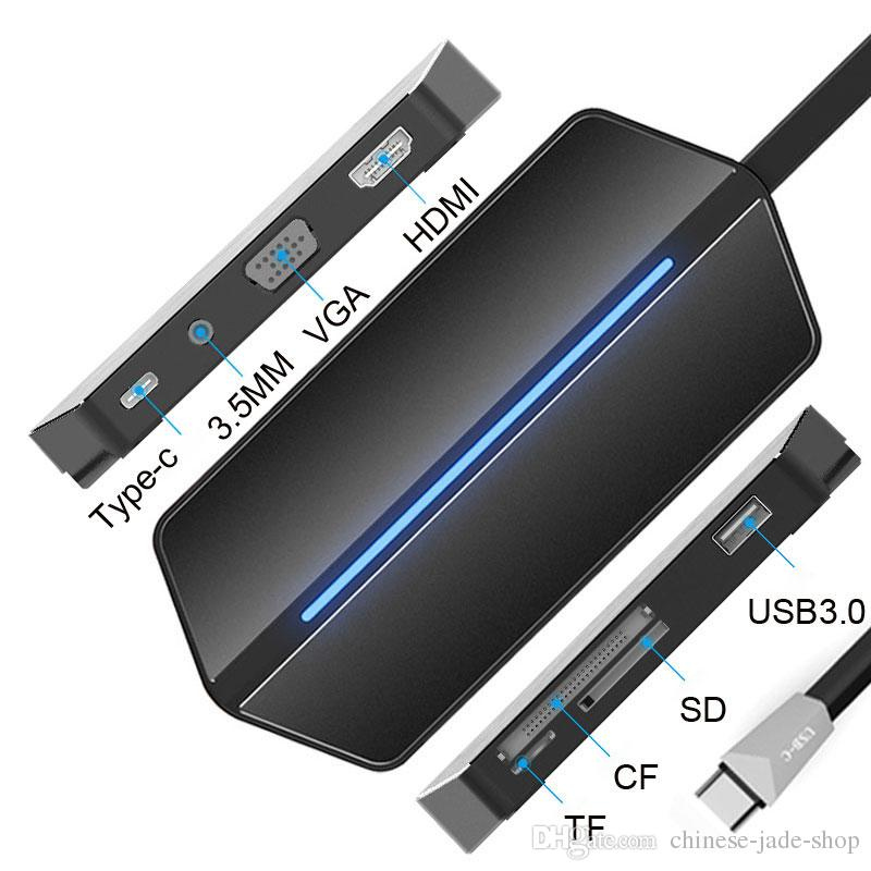 Thunderbolt 3 USB C Hub to HDMI VGA Adapter USB Type-c Hub Dock USB 3.0 Hub with 3.5MM Socket LED Light for MacBook Pro 1PC/LOT
