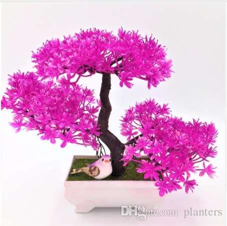 1 adet Karşılama Çam Öykün Bonsai Simülasyon Dekoratif Yapay Çiçekler Sahte Yeşil Pot Bitkiler Süsler Ev Dekor
