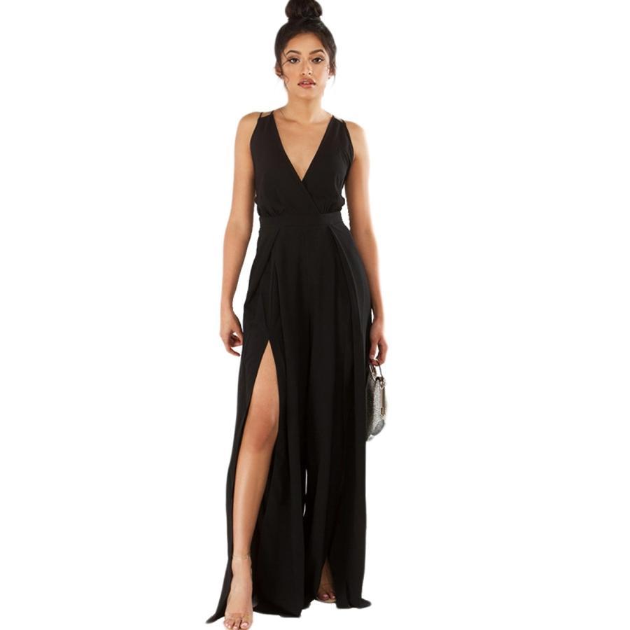 Sexy Deep V Neck Halter Tuta Fasciatura Tute da donna Slip Wide Legs Moda Yenisey Nero Donna Abbigliamento donna 55