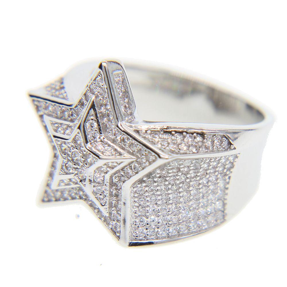 Qualidade superior # 9 10 11 full micro pavimentar cz engajamento do casamento hip hop bling forma de estrela rua menino legal bling iced anel cz Y1890706