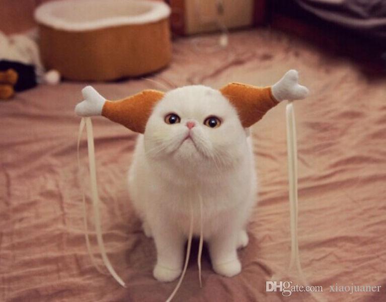 Großhandelsneues Hundehut-Kappen-Cosplay-Kostüm für Welpen-Katzen-Hunde Nette lustige Hühnerbein-Haar-Schleifen-Kopf-Abnutzungs-Haustier-Hut reizende Katze spielt S / M