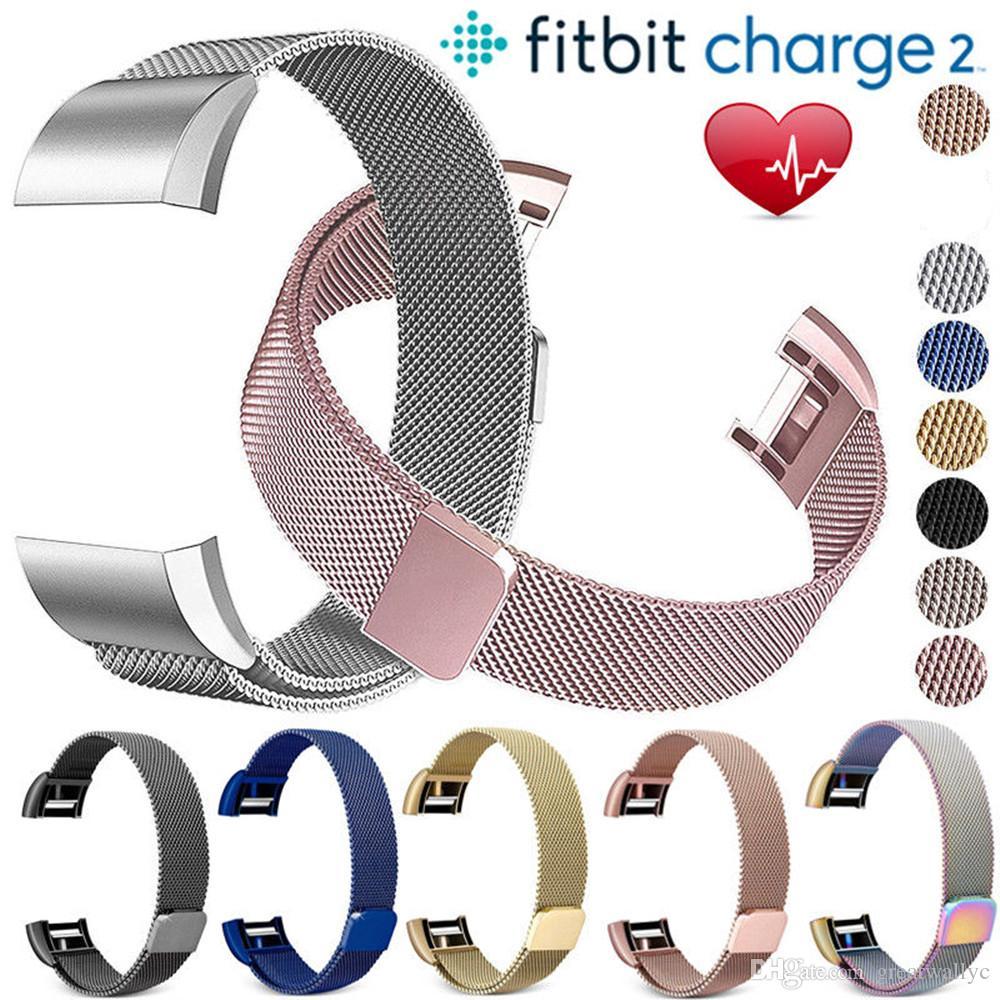 Fitbit 충전 2 밴드 용 밀라노 루프 스트랩 팔찌 용 충전 용 스테인레스 스틸 밴드 팔찌 링크 용 팔찌