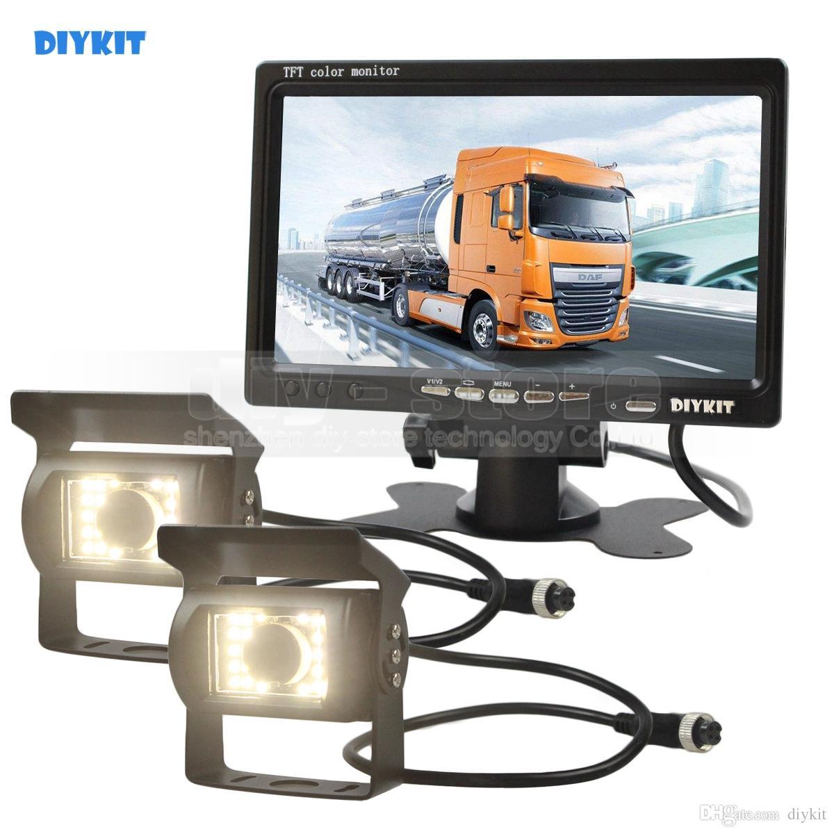 DIYKIT 2 x 4pin LED Night Vision CCD Rear View Camera + DC 12V-24V 7inch TFT LCD Car Monitor System for Bus Houseboat Truck