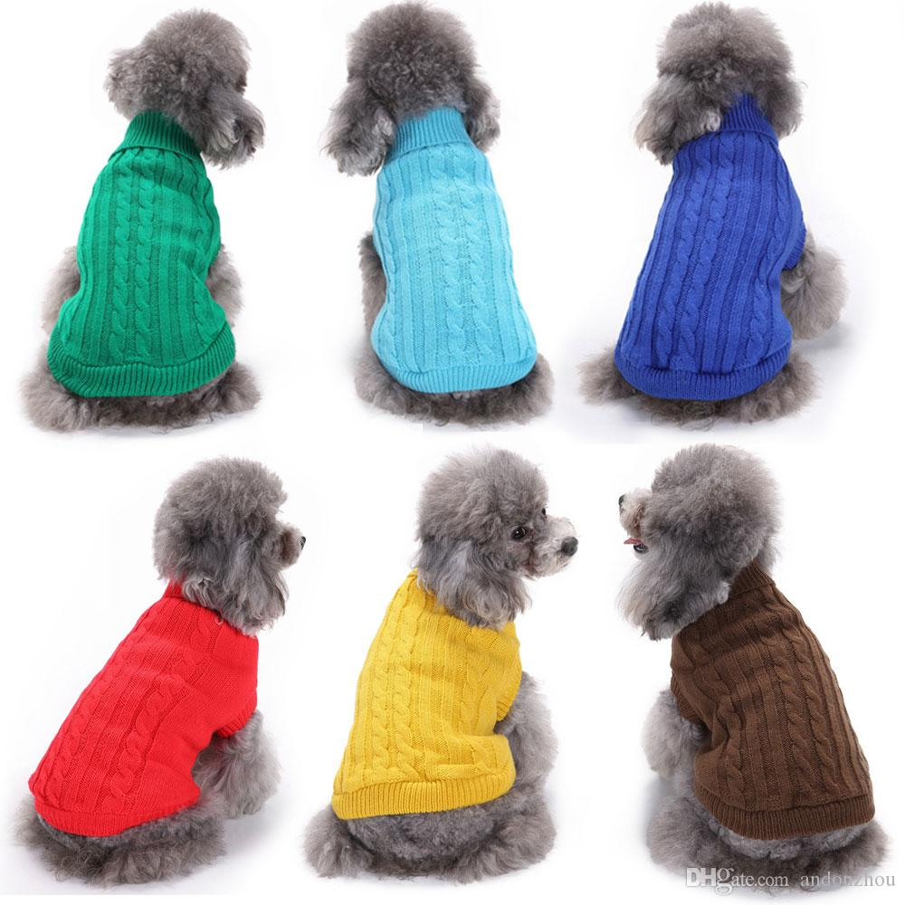 2019 Soild Color Crochet Dog Sweaters Clothes Costumes Fall Winter