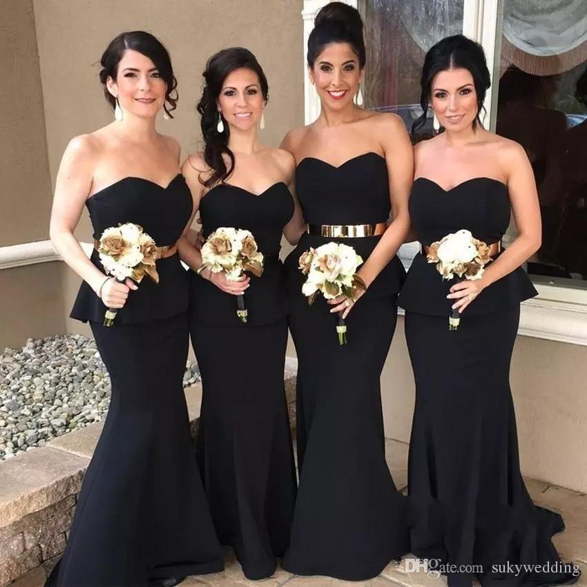 Мода Черный Русалка Длинные платья невесты с золотой талией Милой девой Вечернего Wear честь платье Длинных платьев свадьбы