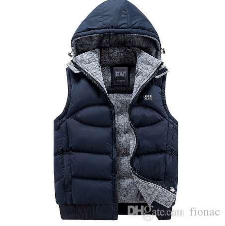 Nowa męska kurtka bez rękawów Veste Homme Winter Fashion Casual Coats Męskie Kapturem Bawełny-Wyściełane męska Kamizelka Mężczyźni Zagęszczający Kamizelkę
