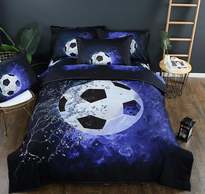 3D 3 pcs Bedding Set Sports Theme 3D Football Basketball Duvet Cover with Pillow Cases Full King Queen Size
