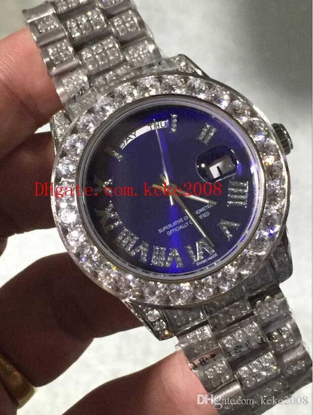 Relojes de pulsera de moda Azul 41 mm FECHA DEL DÍA Diamante romano Dial Platino Pulsera llena de diamantes 2813 2836 Reloj automático para hombre mecánico
