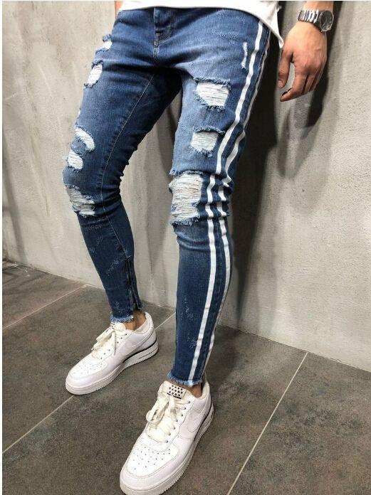 Side strisce blu denim strappati i pantaloni lunghi pantaloni Distressed Lavato Biker Raffreddare Jeans Slim Mens High Street Pants