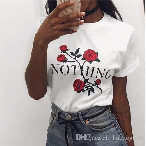 Rien Lettre Imprimé T Shirt Rose Harajuku T-Shirt Femmes 2019 D'été Occasionnel À Manches Courtes TShirt Blanc Gris Punk Chemises