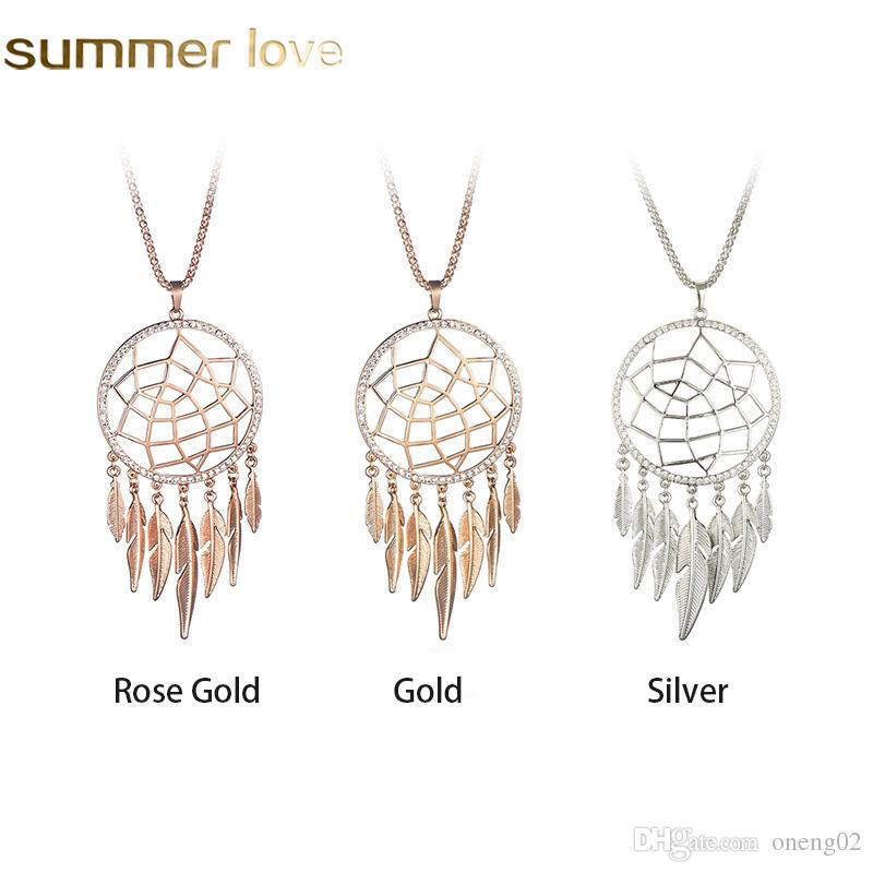 Long Tassel Leaf Feather Necklace Hollow Jewelry Dream Catcher Pendant New Gold Color Necklace For Women Gift